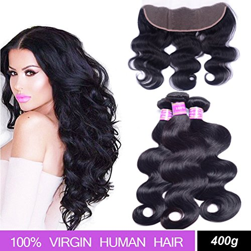 Brazilian Body Wave Hair 3 Bundles with Lace Frontal Closure (13×4), AliBarbara 8A 100% Unprocessed Virgin Human Hair Extensions Natural Color (18 20 22 & Closure 16) by AliBarbara