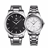 Fq-240 Valentines His and Hers Stainless Steel Pair Wrist Watches for Men Women, Black and White, Watch Set of 2