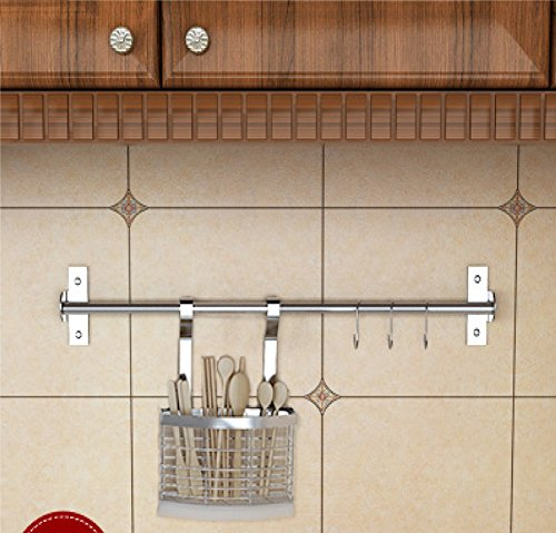 Wall Mounted Pan Pot Rack Kitchen Utensils Hanger Organizer Lid Holder Stainless Steel 15 Hooks Multipurpose (24inch+flatware caddy)