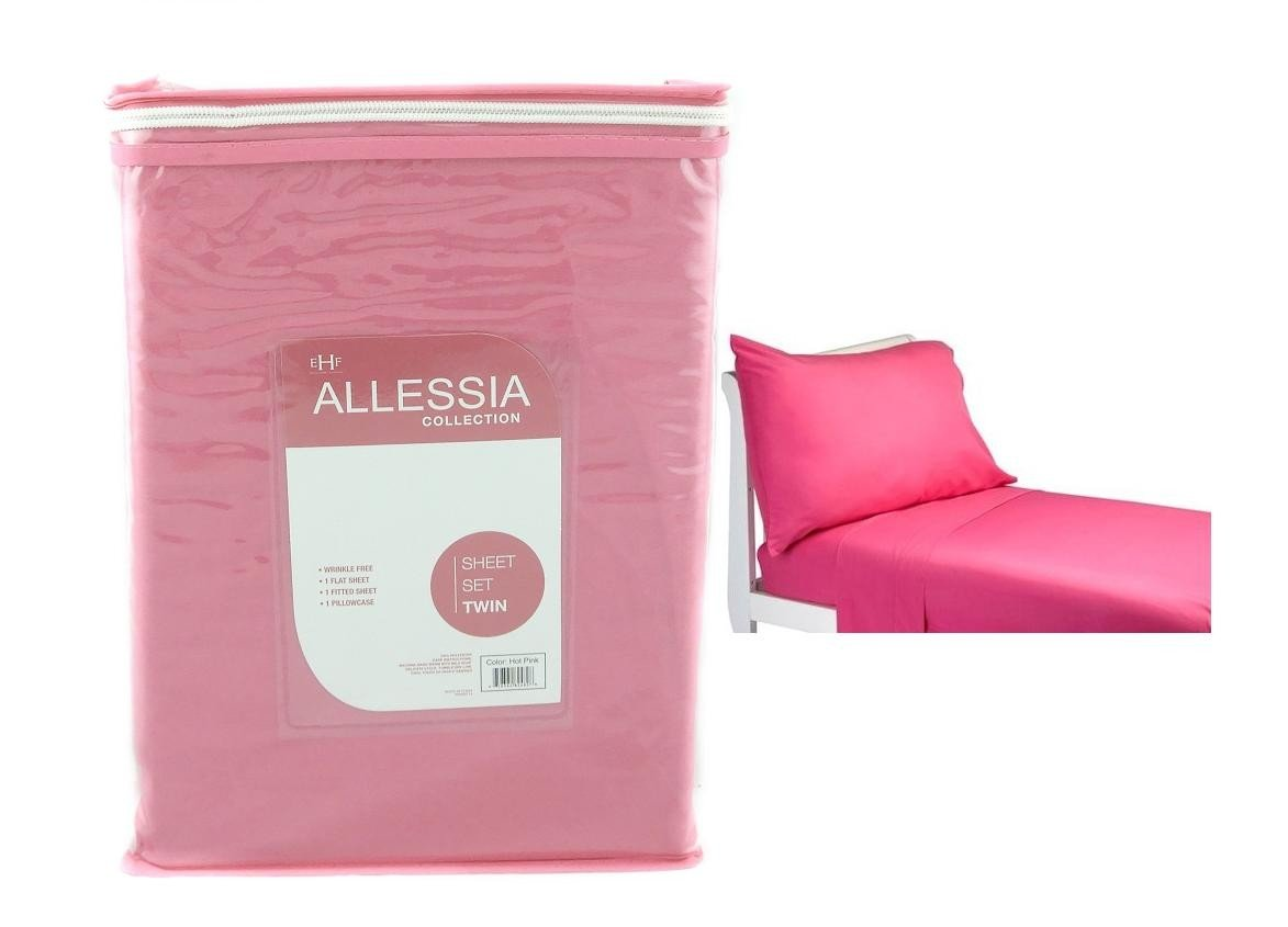 Allesia Collection Hot Pink twin Size Sheet Set Back To School College Dorm