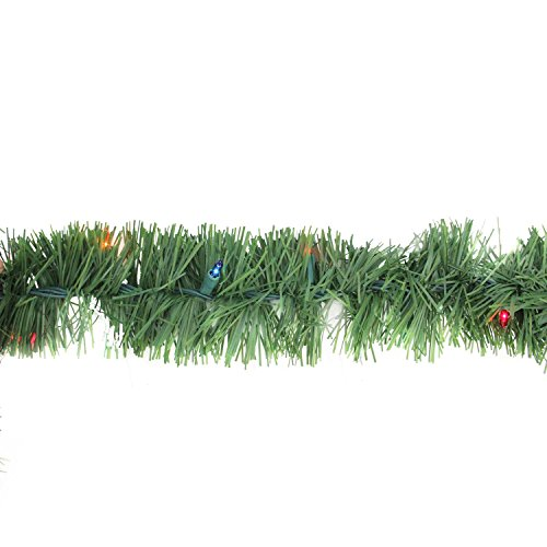 12' x 3'' Pre-Lit Green Pine Indoor/Outdoor Artificial Christmas Garland - Multi Lights by Arett Sales