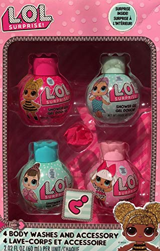 - L.O.L Surprise Complete 5 Pieces Bath Set including 4 Scented Body Wash & Mystery Surprise For Girls
