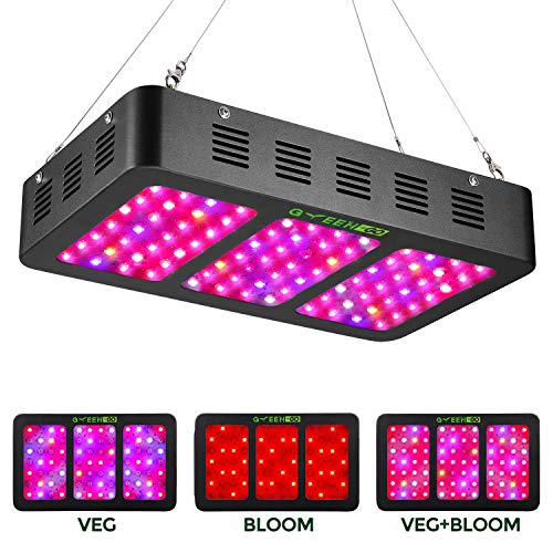 - 900W LED Grow Light Full Spectrum with Veg&Bloom Switch,GREENGO Triple-Chips LED Grow Lamp with Daisy Chain for Indoor Plants Veg and Flower