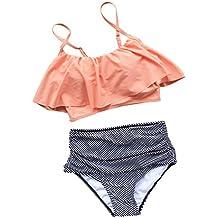Joy&Bella Falabla Ruffled Flounce Top High-waisted Stripe Bottom Bikini Set Padded Bathing Suit Swimwear