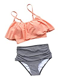 Seaselfie Women's Retro High-Waisted Beach Bikini Bathing Suit