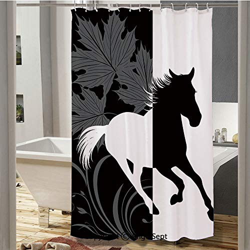 - Silhouette of Mustang in Monochrome Abstract Framework Maple Leaves Sprigs Decorative Camping Shower Curtain(72