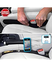 Drop Stop - The Original Patented Car Seat Gap Filler (AS SEEN ON Shark Tank) - Set of 2 and Slide Free Pad and Light