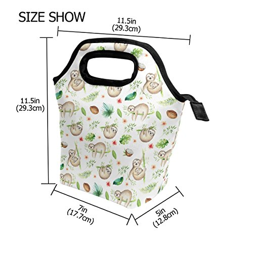 TropicalLife Lunch Tote Bag Funny Sloth Baby Zipper Insulated Cooler Reusable, Animal Sloth Lunchboxes Portable Lunch Bags Handbag for Adult Men Women Kids Boys Girls by TropicalLife (Image #1)