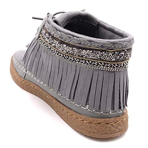Moda Cm Fleco Gris Botas Fantasía Bordado Zapatillas Mujer Botines Plano Mocasines 2 Tacón Angkorly Folk qwZ6O0x5