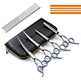 Dog Scissors, Alfheim Professional 4 pieces in 1Pet Hair Grooming Scissors Set- Thinning Shear & Straight-Edge Shear& 2 Curved Shears -Sharp and Strong Stainless Steel Blade for Dog Cat and other pets