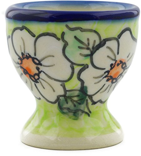 - Polish Pottery 2-inch Egg Holder (White Flower Bouquet Theme) Signature UNIKAT + Certificate of Authenticity