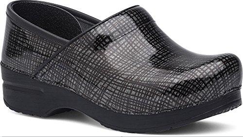 Dansko Women's Wide Pro Silver/Black Crisscross Leather Clog - 40 M EU / 9.5-10 C/D US by Dansko