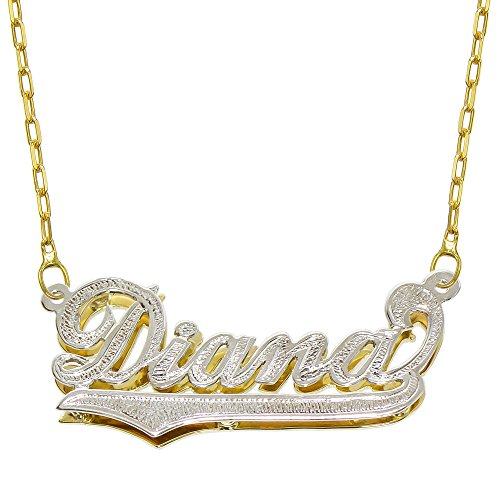 - Pyramid Jewelry 14K Two Tone Gold Personalized Double Plate 3D Name Necklace - Style 3 (20 Inches, Oval Rolo Chain)