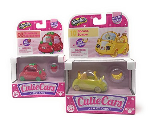 Shopkins Cutie Cars 03 Strawberry Speedy Seeds and 10 Banana Bumper with Mini Shopkin Exclusives Bundle