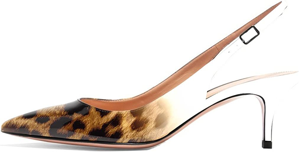 Eldof Womens Patent Leather Pointed Toe Slingback Ankle Strap Kitten Heels Pumps Evening Stiletto Shoes 6.5cm