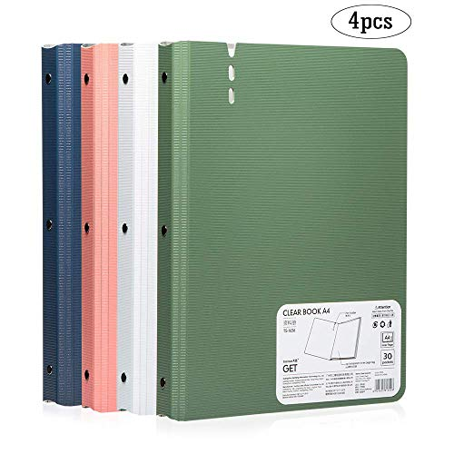(30-Pocket Bound Sheet Protector Presentation Book,60-Page Capacity Display Book, for A4 Size 8.5 x 11-Inch Inserts, 4 Color Pack)