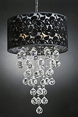 Modern Chandelier with Black Shade Rain Drop Lighting Crystal Ball Fixture Pendant Ceiling Lamp H24 X W16, 6 Lights,