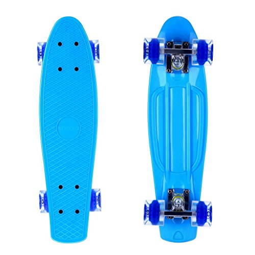ENKEEO Skateboards 22 Inches Complete Skateboard Cruiser Plastic Banana Board with Bendable Deck and...