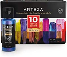 Arteza Iridescent Acrylic Paint Set, 60 ml Bottles, 10 Chameleon Colors, High Viscosity Shimmer Paint, Water-Based,...