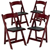 Flash Furniture 4 Pk. HERCULES Series Mahogany Wood Folding Chair with Vinyl Padded Seat