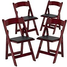 Flash Furniture 4 Pk. HERCULES Series Mahogany Wood Folding Chair with Vinyl Padded Seat