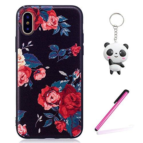 iPhone X Hülle rote Blume Premium Handy Tasche Schutz Schale Für Apple iPhone X / iPhone 10 (2017) 5.8 Zoll + Zwei Geschenk