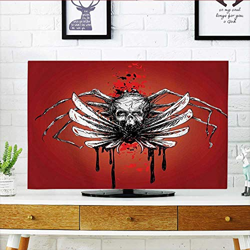 Auraisehome tv dust Cover Skull with Wings and Blood Evil Spider Skeleton Horror Themed Artsy Image Red Dust Resistant Television Protector W19 x H30 INCH/TV 32
