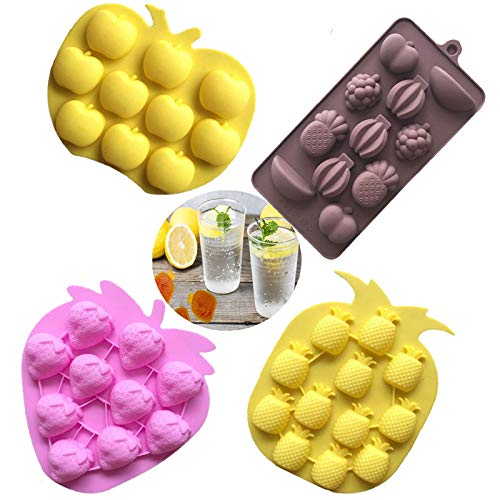 - Fruits Series Silicone Fondant Mold Candy Mold Strawberries Pineapples Apples Banana Mold for Sugarcraft Cake Decoration Candy Mold Cupcake Topper Summer Ice Cube Tray (Set of 4)