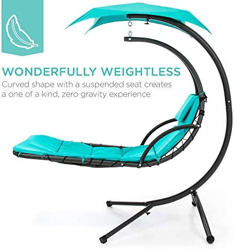 Best Choice Products Outdoor Hanging Curved Steel Chaise Lounge Chair Swing w Built-in Pillow and Removable Canopy, Teal
