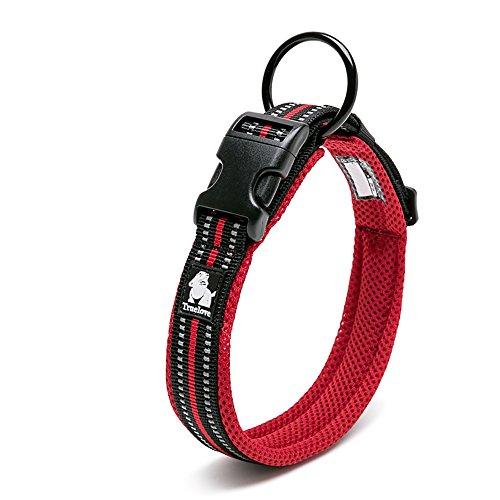 LUNA Nylon Pet Collar Padded 3M Reflective Dog Collar Ring - Adjustable (XL, Red)
