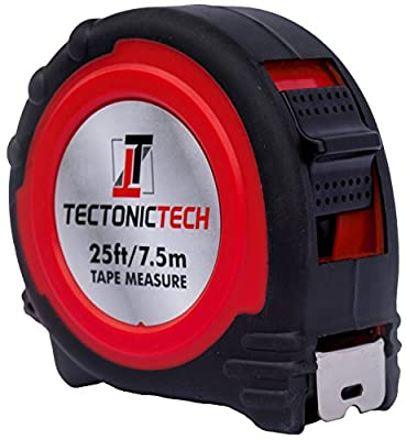 Tectonic Tech Locking Tape Measure 25 Foot - 7.5 Meters With Belt Clip and Durable Nylon Coated Inches and Metric Tape Measure