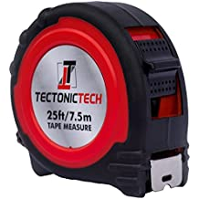 Tectonic Tech Locking Red Tape Measure 25 Foot - 7.5 Meters With Belt Clip and Durable Nylon Coated Inches and Metric