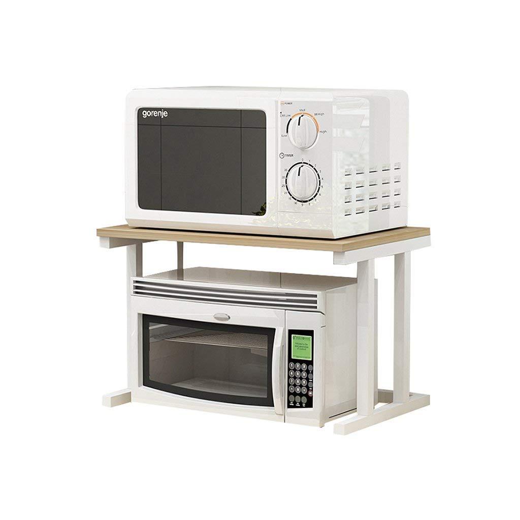 Multifunction Thicken Iron Art Black Kitchen Microwave Oven Rack 2-Tier with 6 Hooks Shelf Seasoning Rack Storage Shelf Kitchenware Rack Pot Rack Bracket Collapsible (Size:L55cm X W36cm X H47cm)