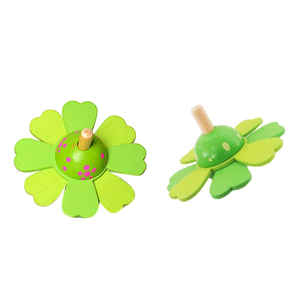Wooden Toys Flower Rotate Baby Wood Toys For Kids Spinning Top Toys Gift New