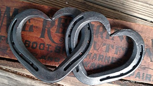 Intertwined Horseshoe Hearts - hanging wall or decor - Standard size 3 shoes