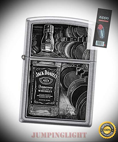6610 Jack Daniel's Tennessee Whiskey Old No 7 Lighter with Flint Pack - Premium Lighter Fluid (Comes Unfilled) - Made in USA!