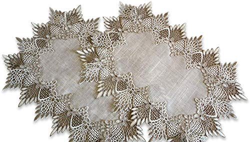 SET of TWO Doilies Dresser Scarf Neutral Earth Tones European Lace Place - Art Sofa Table Deco