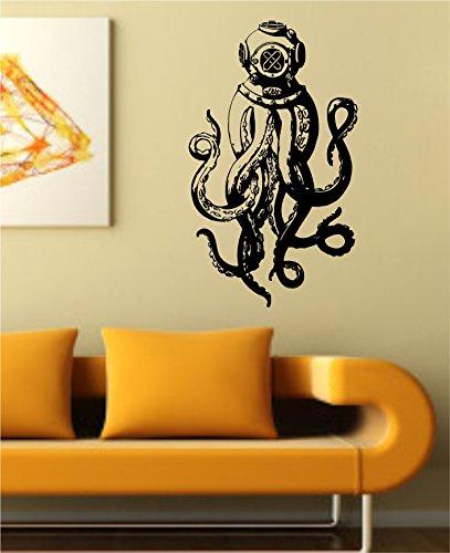 Octopus Version 108 Octopus with Scuba Helmet Wall Vinyl Decal Sticker Decals Nautical Ocean