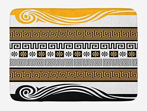- Weeosazg Greek Key Bath Mat, Neoclassical Borders Collection Meander Pattern and Flowers with Waves, Plush Bathroom Decor Mat with Non Slip Backing, 23.6 W X 15.7 W Inches, Marigold Black White