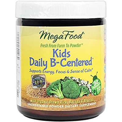 MegaFood - Kids Daily B-Centered Booster, Promotes Mental Focus and a Sense of Calm with B Vitamins, Chamomile, and Bacopa, Vegan, Gluten-Free, Non-GMO, 30 Servings (1.1 oz)