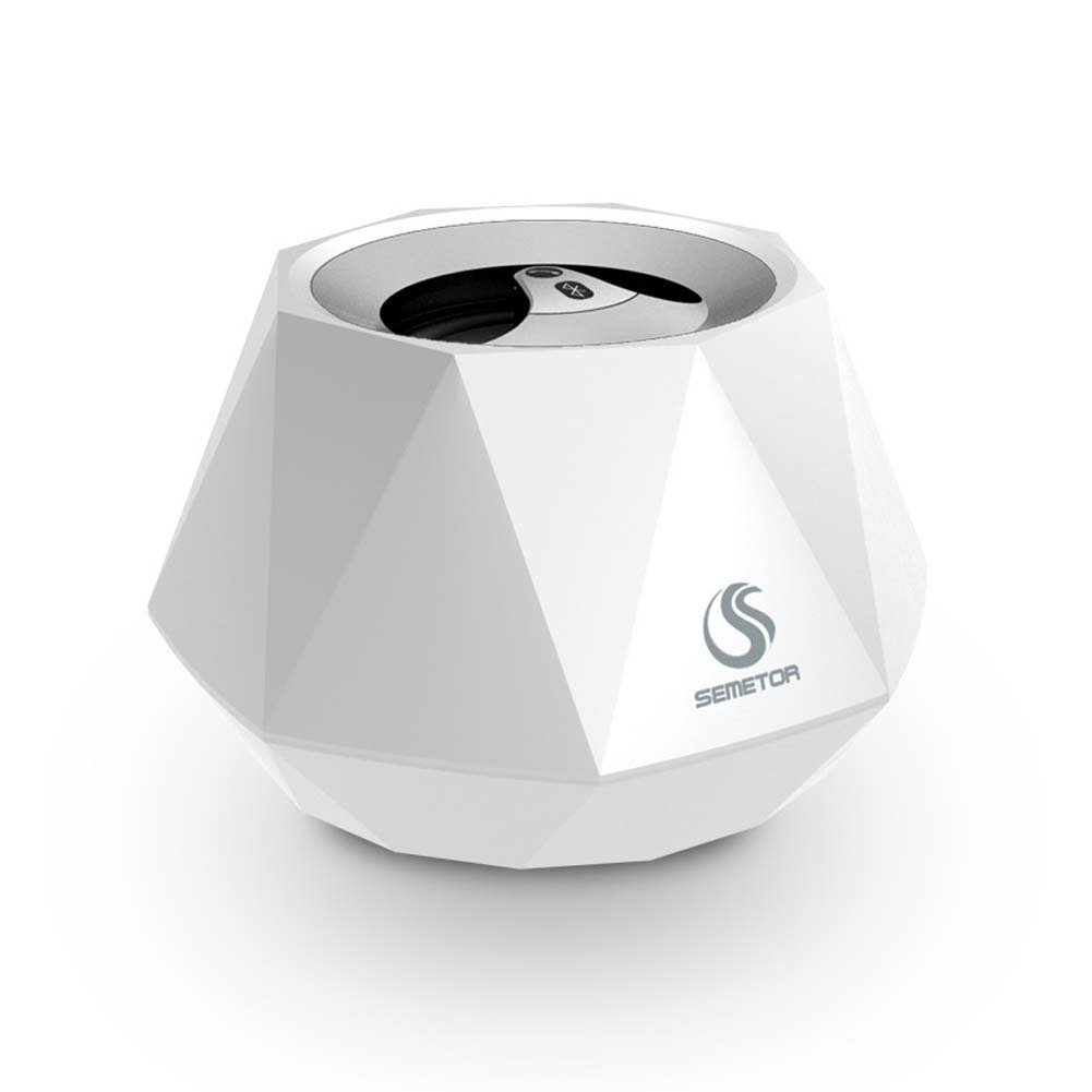 GAIHU Mini Portable Travel Diamond Bluetooth Speaker - Car Hands-Free Calling Subwoofer Small Sound,White