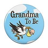 "Grandma To Be Stork Baby Grandmother Pinback Button Pin Badge - 3"" Diameter"