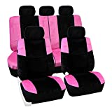 FH Group FB080PINK115 Pink Lush Velour Seat Cover (Airbag compatible and Split Bench Leopard Full Set)