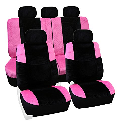 FH Group FB080PINK115 Pink Lush Velour Seat Cover (Airbag compatible and Split Bench Leopard Full Set) (Pink Seat Covers For Cars compare prices)