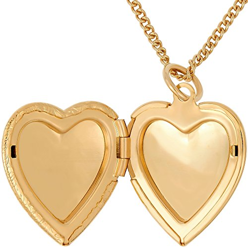 Lifetime Jewelry Heart Locket Necklace, Antique, 24K Gold Over Semi Precious Metals, Guaranteed for Life (Choice of Pendant with or Without Chain) (Gold Locket & Chain) by Lifetime Jewelry (Image #3)