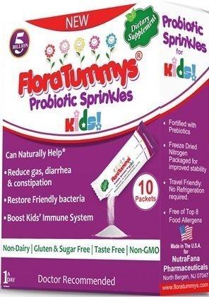 FloraTummys Probiotic Sprinkles Kids 10ct: Taste-Free, Easy-to-Use Probiotic Powder Packets, Non-Dairy, Gluten & Sugar-Free. Non-GMO.