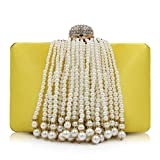 Women Pearl Clutches Beaded Tassel Evening Bag Satin Clutch Purse Handbag Cross-Body Bags Totes