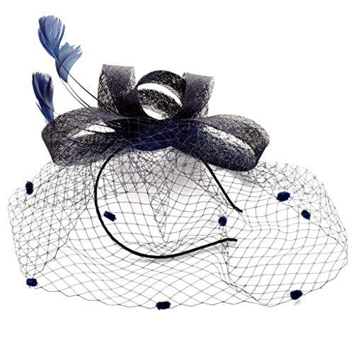 Mbd European Bowler Hat Handmade Bow Feather Headdress Retro Banquet Hemp Hat Linen Lady Hair Accessories (Color : Navy Blue)