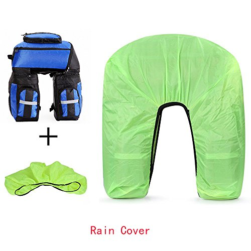 Bike Pannier, Ravifun Waterproof 3 in 1 Rear Seat Bicycle Saddle Bag 70L Nylon Rack Truck Bag with Rain Cover Strong Hook and Reflective Strip, Blue, Green, Red