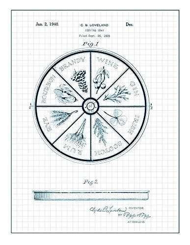 Serving Tray Patent Print Art Poster Blue Grid  M11436